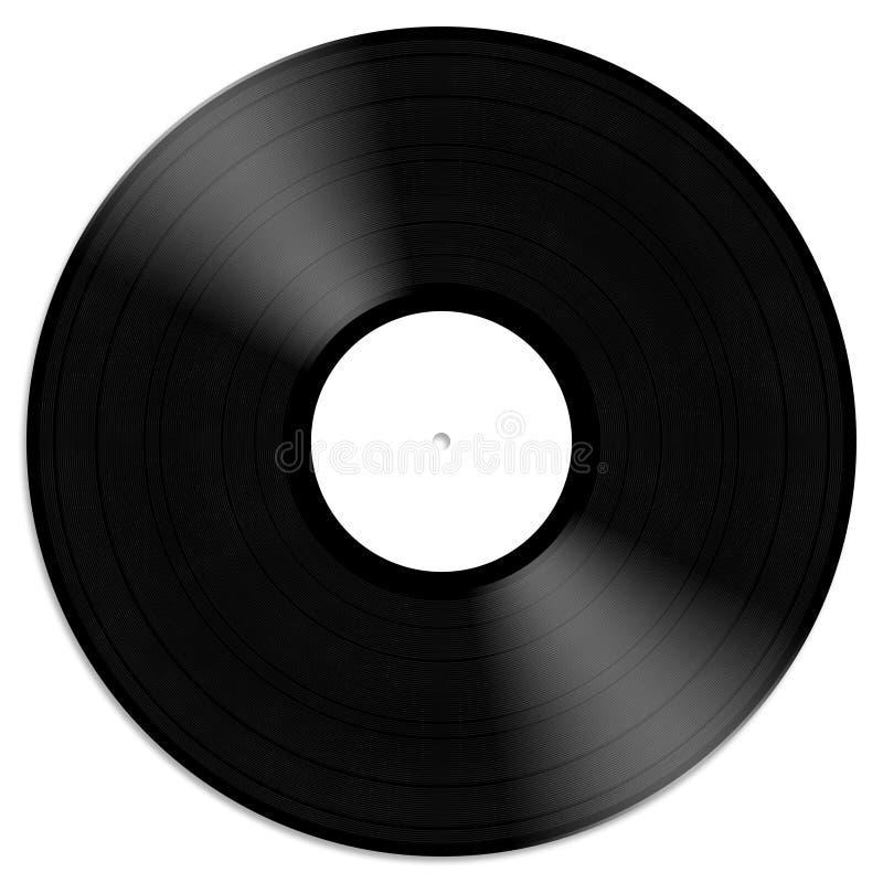 Schwarze Vinylaufzeichnungsillustration lokalisiert auf weißem Hintergrund lizenzfreie abbildung