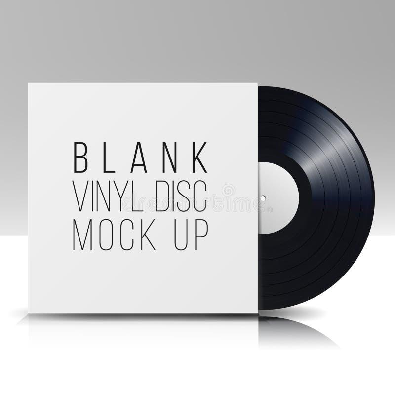 Schwarze Vinylplatte gegen weißen Hintergrund Löschen Sie lokalisierten weißen Hintergrund Realistische leere Schablone einer Mus lizenzfreie abbildung