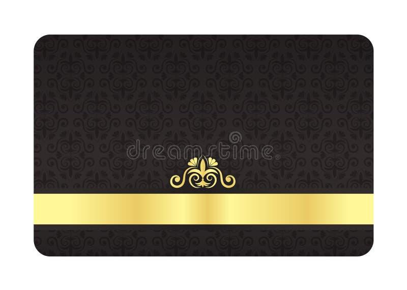 Schwarze VIP-Karte mit Weinlese-Muster und goldenem Labor lizenzfreie abbildung