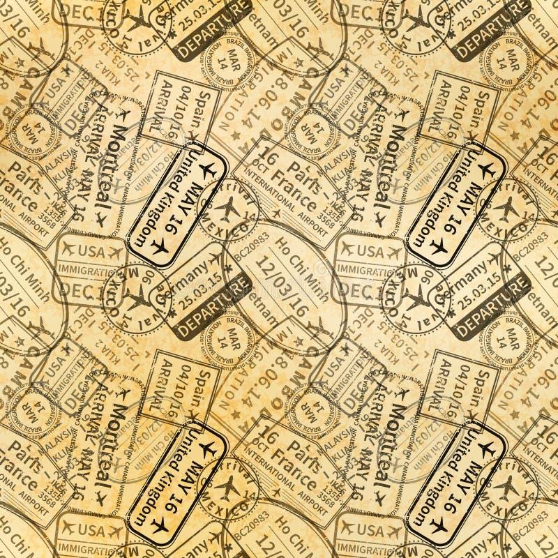 Schwarze Visums-Stempelimpressen der internationalen Reise auf altem Papier, nahtloses Muster vektor abbildung