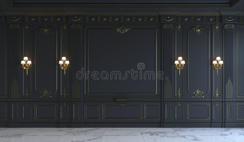 Schwarze Wände in der klassischen Art mit Vergoldung Wiedergabe 3d stockbild
