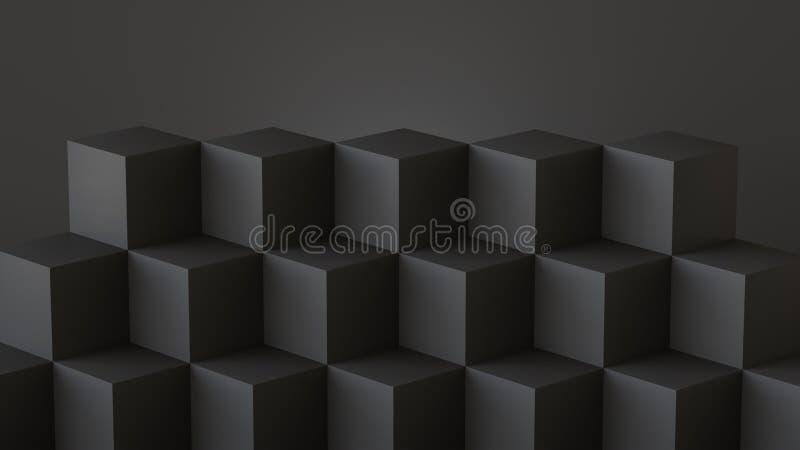 Schwarze Würfelkästen mit dunklem Wandhintergrund Wiedergabe 3d lizenzfreie abbildung