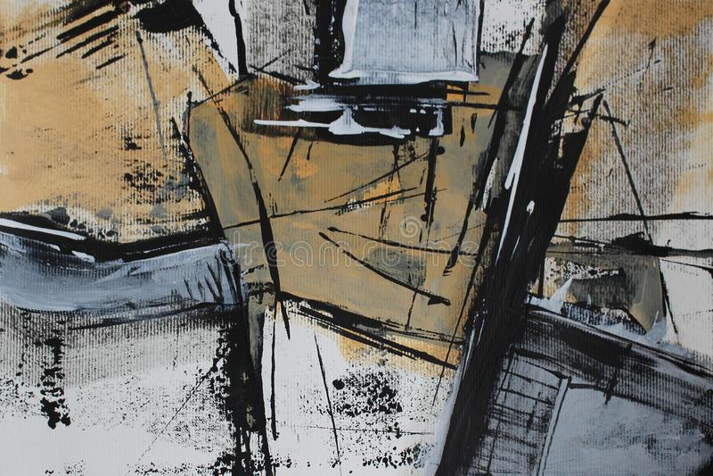 Schwarze weiße Abstraktion mit Acrylfarbe lizenzfreie abbildung
