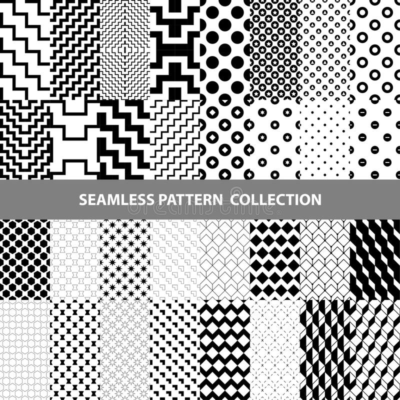 Schwarze weiße klassische Linie Zickzack-Vektor-Zusammenfassungs-geometrische nahtlose Muster-Design-Sammlung lizenzfreie abbildung