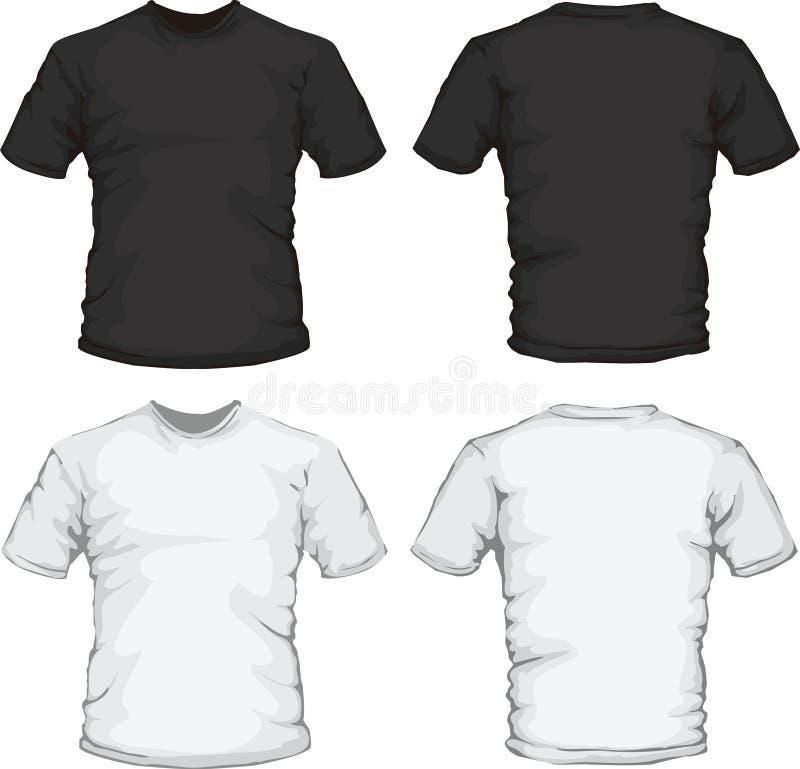 Schwarze weiße männliche Hemdauslegungschablone lizenzfreie abbildung