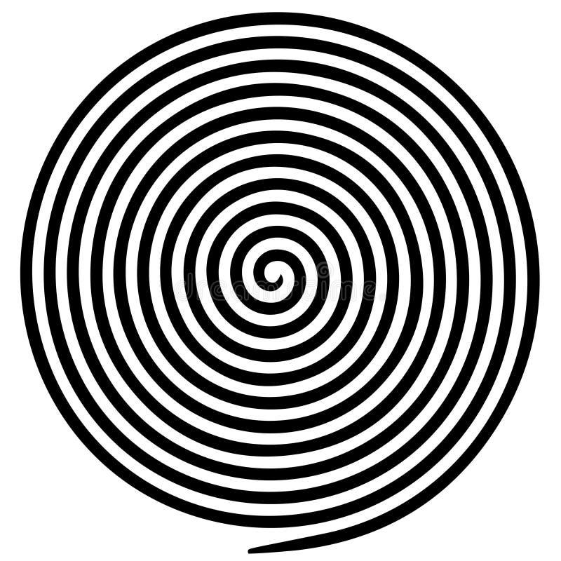 Schwarze weiße runde abstrakte Turbulenzhypnotikspirale stock abbildung