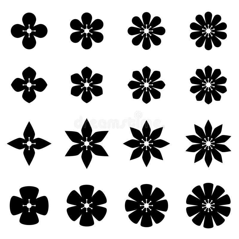 Schwarze weiße Symbole der Blume vektor abbildung