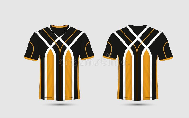 Schwarze, weiße und orange Streifenmustersport-Fußballausrüstungen, Trikot, T-Shirt Designschablone stock abbildung