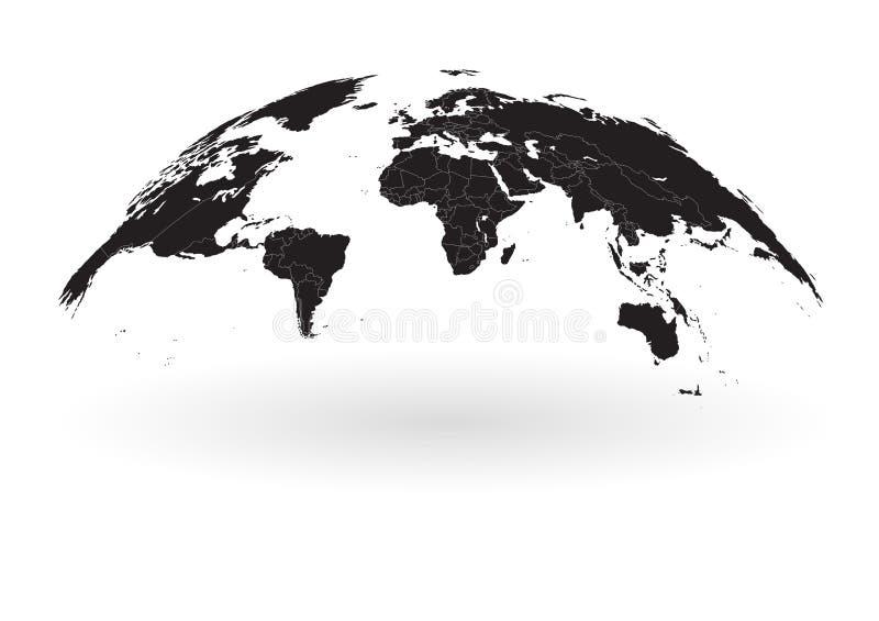 Schwarze Weltkartekugel lokalisiert auf weißem Hintergrund vektor abbildung