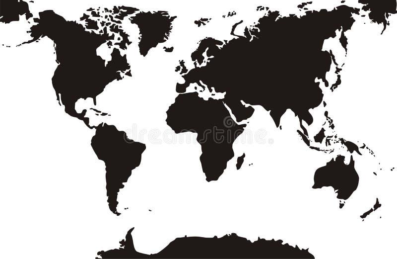 Schwarze Weltkarten lokalisierten weißen Hintergrund vektor abbildung