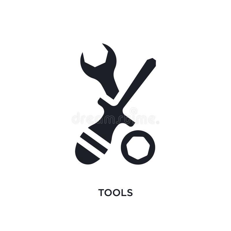 schwarze Werkzeuge lokalisierte Vektorikone einfache Elementillustration von den Industriekonzept-Vektorikonen editable Logosymbo vektor abbildung