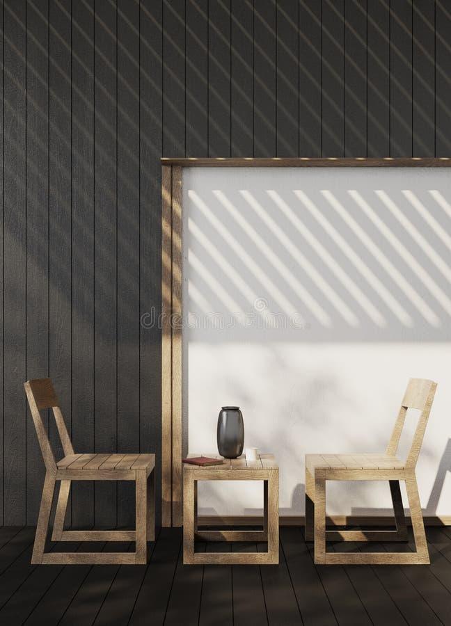 Schwarze Wiedergabe der Terrasse 3d lizenzfreie stockbilder
