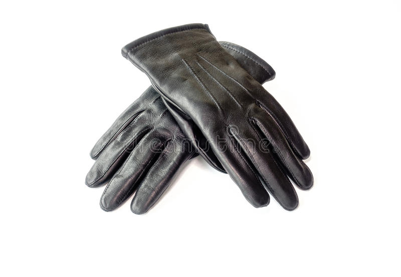 Schwarze Winter-Lederhandschuhe für Männer stockfotos