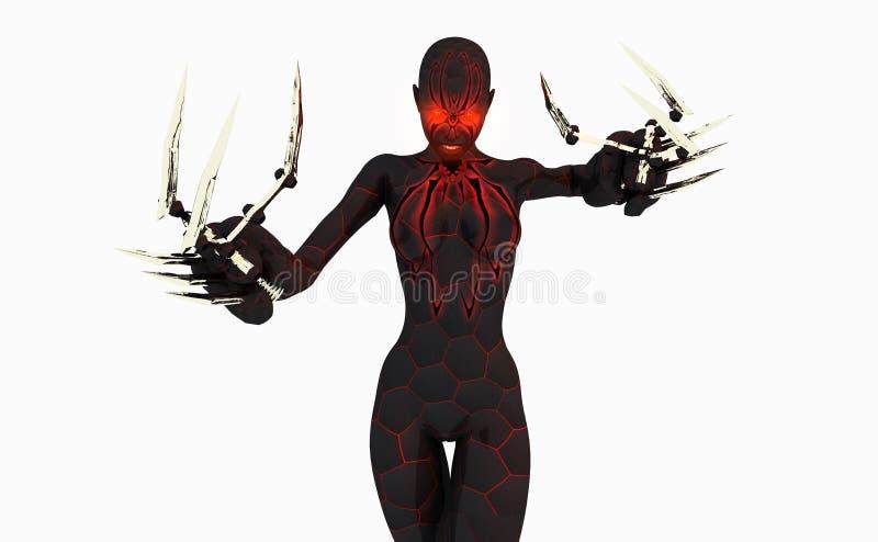 Schwarze Witwe Cyborgfrau stock abbildung