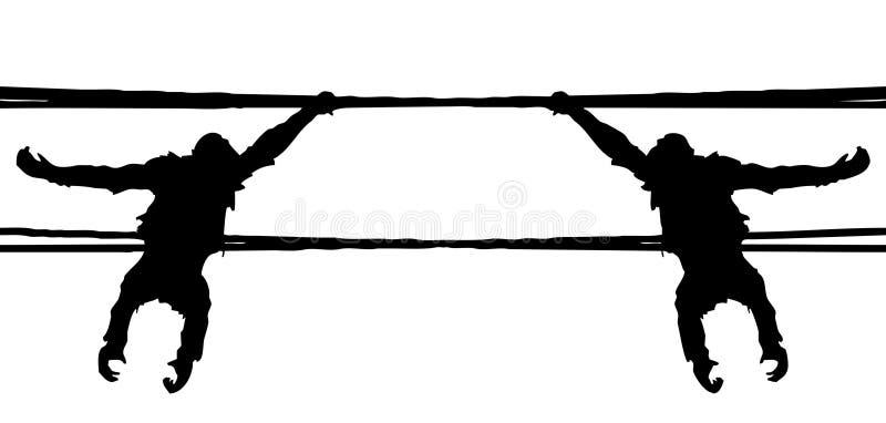 Schwarze Zahl Kletterns mit zwei des reflektierenden speculars Affen lizenzfreies stockbild