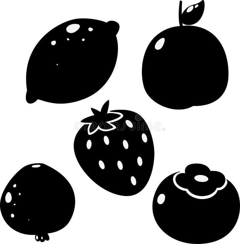 Schwarze Zitrone, Pfirsich, Persimone, Granatapfelfrucht, Erdbeere stock abbildung
