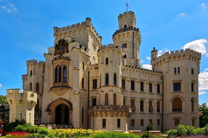 Schwarzenberg氏族新哥特式样式宫殿在Cesky Budejovic 库存照片