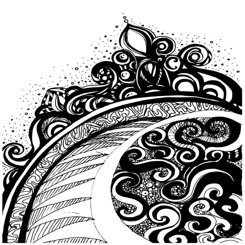 Schwarzer abstrakter Hintergrund Gekritzelartdekoration, Vektorillustration lizenzfreie abbildung