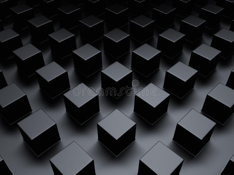 Schwarzer metallischer Hintergrund mit Würfeln vektor abbildung