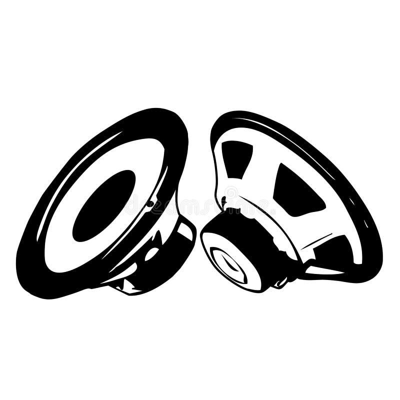 Schwarzer akustischer Lautsprecher lizenzfreie abbildung