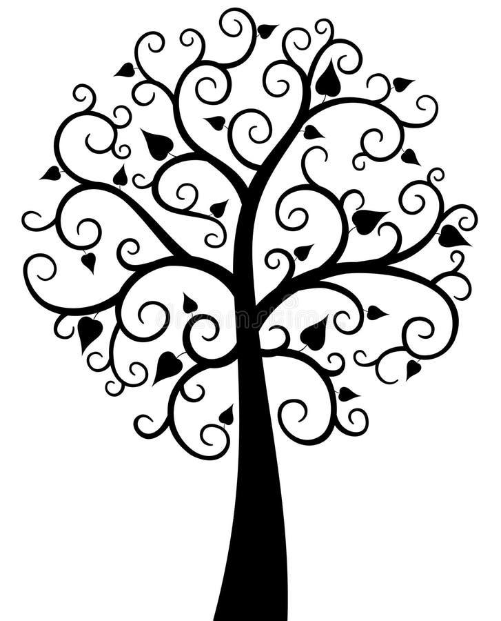 Schwarzer aufwändiger Baum lizenzfreie abbildung