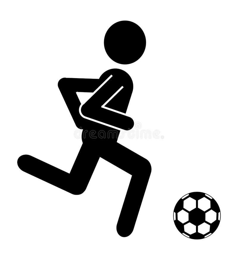 Schwarzer Avataramann Mit Fussball Grafik Stock Abbildung