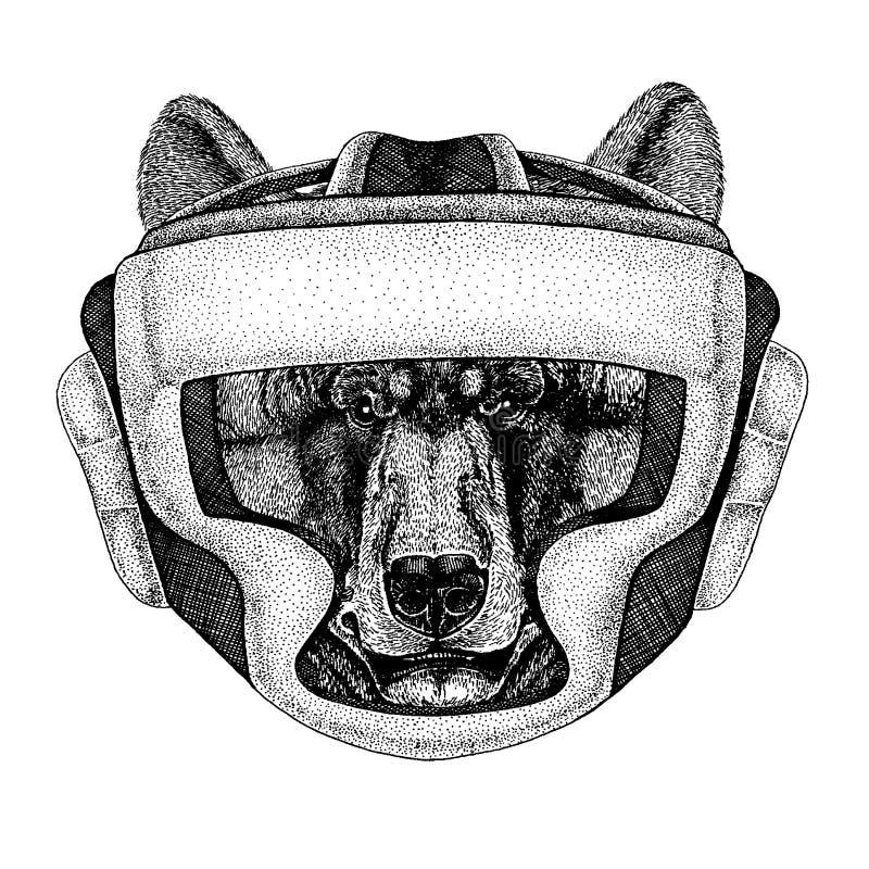 Schwarzer Bär Boxertier Vektorillustration für T-Shirt Sport, Kämpfer lokalisiert auf weißem Hintergrund Eignung stock abbildung