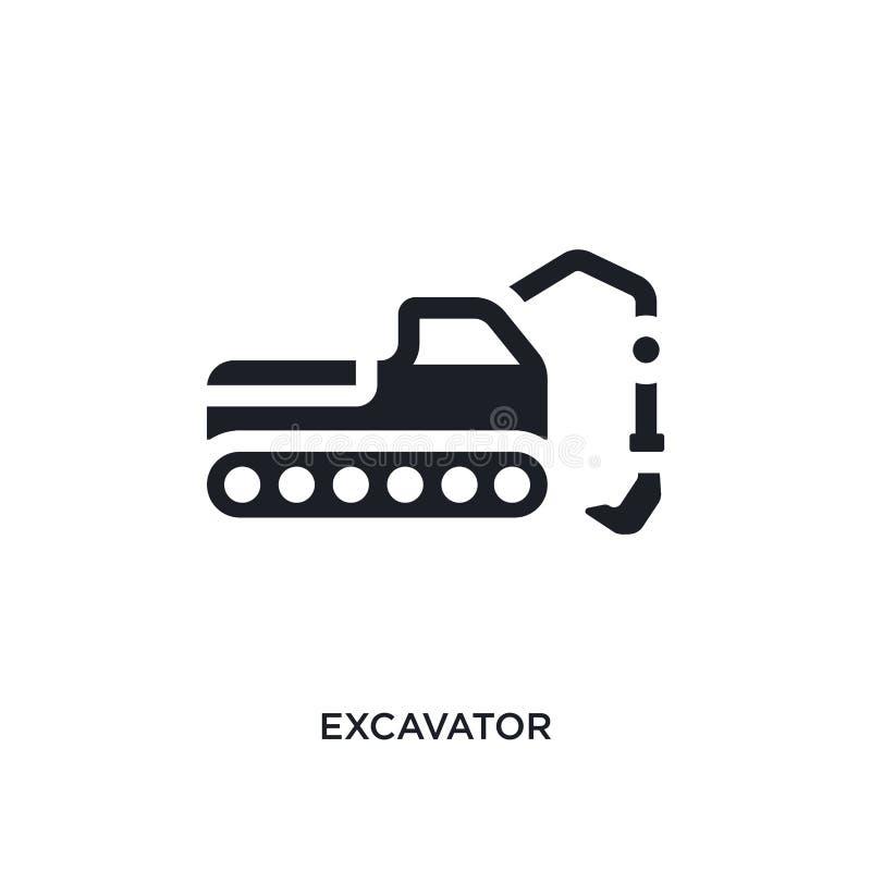 schwarzer Bagger lokalisierte Vektorikone einfache Elementillustration von den Industriekonzept-Vektorikonen editable Logo des Ba lizenzfreie abbildung