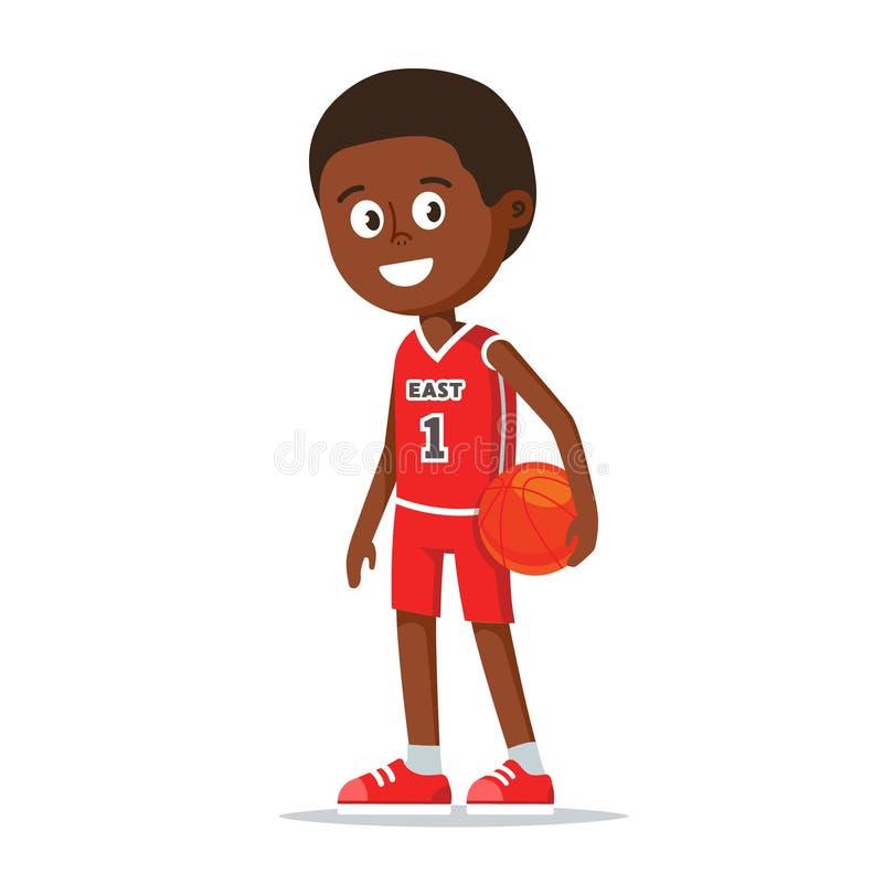 Schwarzer Basketball-Spieler, der einen Ball hält lizenzfreie abbildung