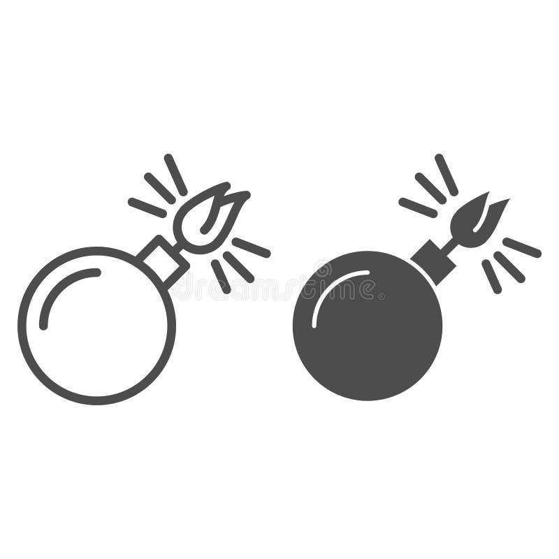 Schwarzer Bereich mit Schnur beleuchtete Linie und Glyphikone Bombe mit der beleuchteten Dochtvektorillustration lokalisiert auf  vektor abbildung