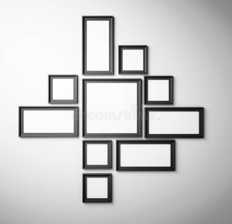Schwarzer Bilderrahmen Auf Weißer Wand Stock Abbildung ...