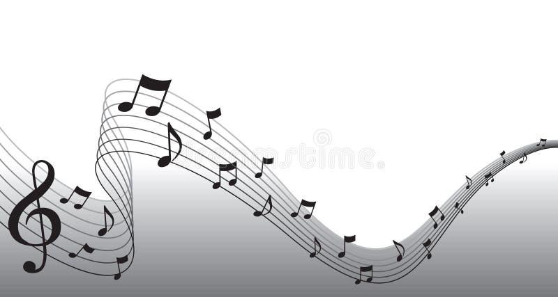 Schwarzer Blatt-Musik-Seiten-Rand stock abbildung
