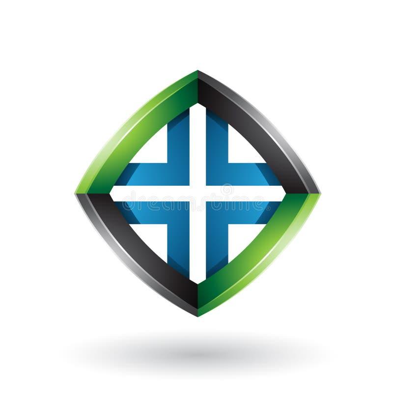 Schwarzer blauer und grüner verdrehter Diamond Shape lokalisiert auf einem weißen Hintergrund lizenzfreie abbildung