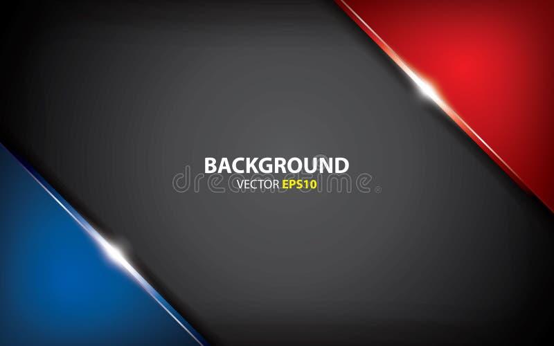 Schwarzer, blauer und roter Hintergrund überschneiden Schichten mit Lichteffekt Minimales Konzept lizenzfreie abbildung