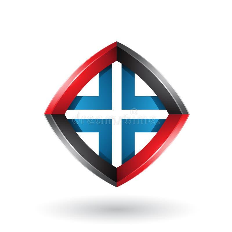 Schwarzer blauer und roter verdrehter Diamond Shape lokalisiert auf einem weißen Hintergrund lizenzfreie abbildung