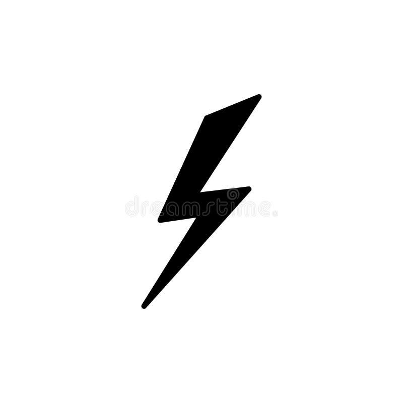 Schwarzer Blitz einfache flache Ikone. Sturm- oder Donner- und Blitzschlagzeichen auf weiß isoliert lizenzfreies stockfoto