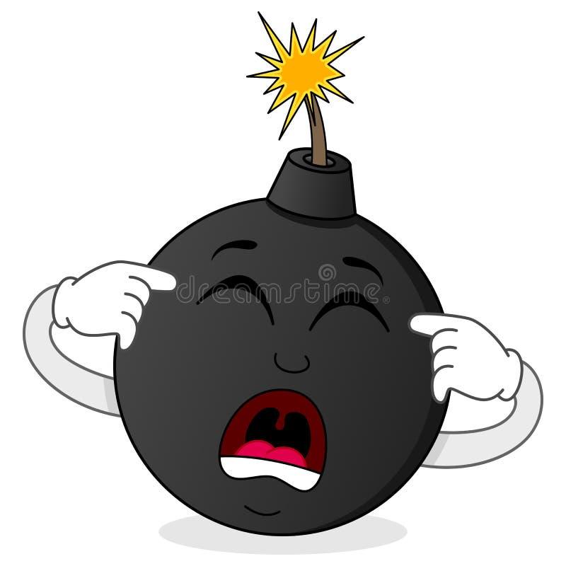 Schwarzer Bomben-Charakter ungefähr zum Explodieren lizenzfreie abbildung