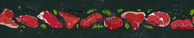 Schwarzer Brett-Hintergrund und Kreide Band von populären Steak-Arten Steakhausrestaurantmenü Hand gezeichnete Abbildung Savoyar  stock abbildung