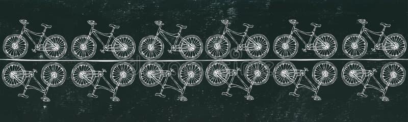 Schwarzer Bretthintergrund Endlose Muster-Bürste oder Band des Fahrrad-Fahrrad-Hintergrundes Realistische Hand gezeichnete Illust lizenzfreies stockbild