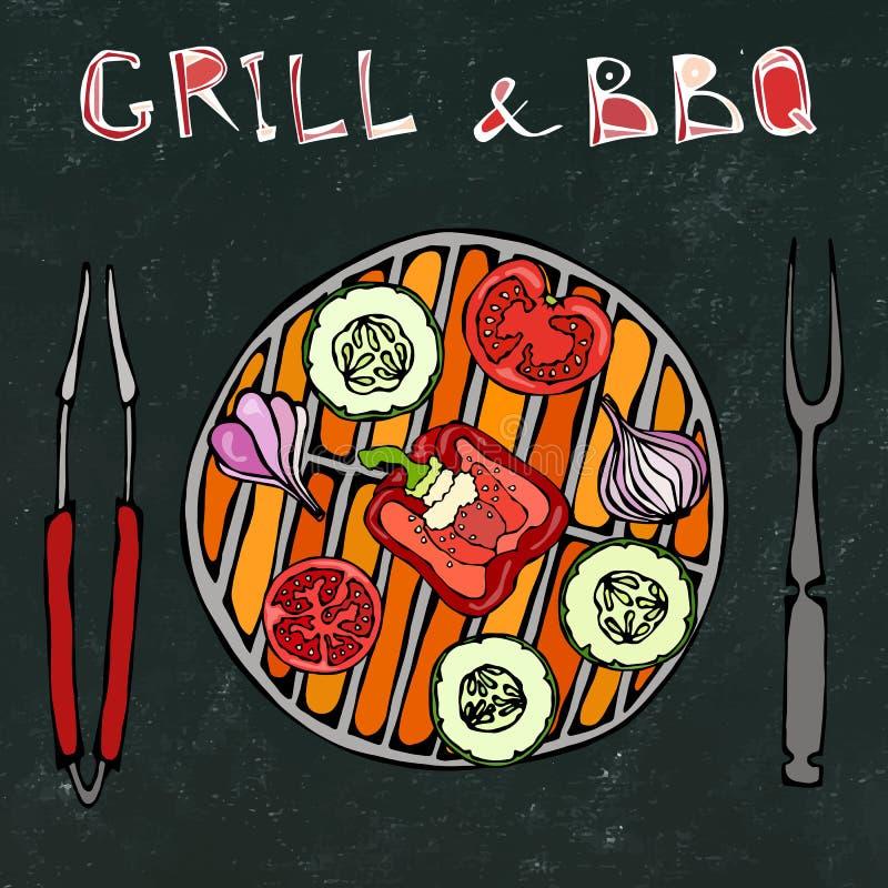 Schwarzer Bretthintergrund vegetarischer Grill Gemüse BBQ Picknick und Grill-Gerätezangen und -gabel Tomate, grüner Pfeffer, Zwie stock abbildung