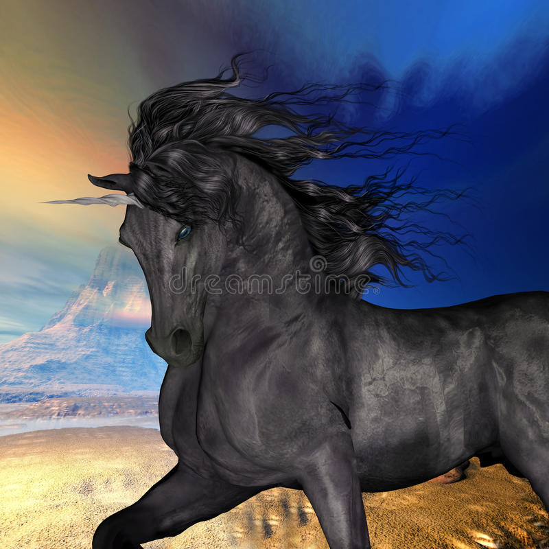 Schwarzer Buck Unicorn stock abbildung