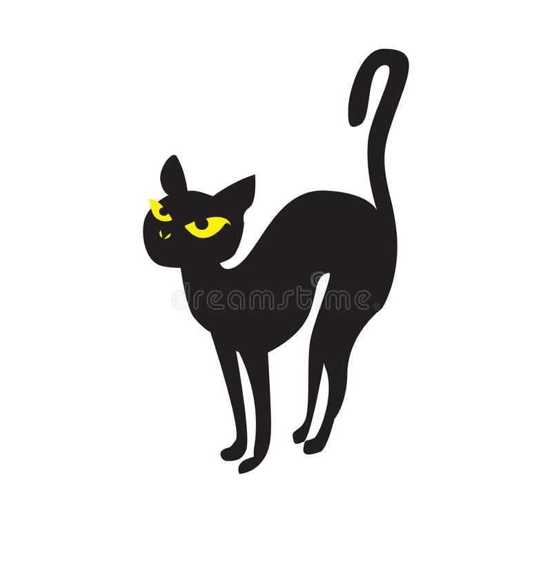 Schwarzer Cat Halloween Holiday-Charakterentwurf lizenzfreie abbildung