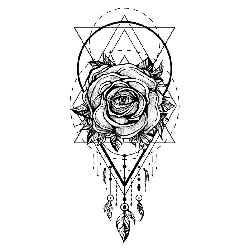 Schwarzer Chaplet, Rosen-Blume mit dem Auge, Muster von geometrischen Formen auf weißem Hintergrund Tätowierungsdesign, mystische stock abbildung