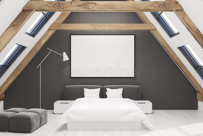 Schwarzer Dachbodenschlafzimmerinnenraum stock abbildung