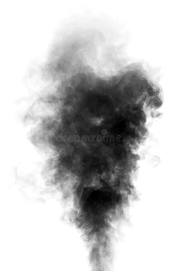 Schwarzer Dampf, der wie Rauch auf weißem Hintergrund aussieht lizenzfreie stockbilder