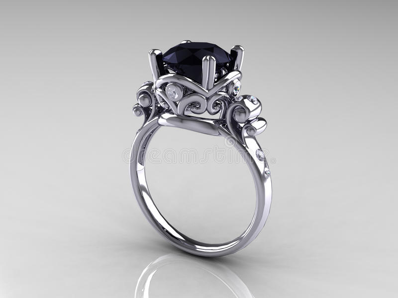 Schwarzer Diamant-Platin-Antike-Verlobungsring lizenzfreie stockfotos