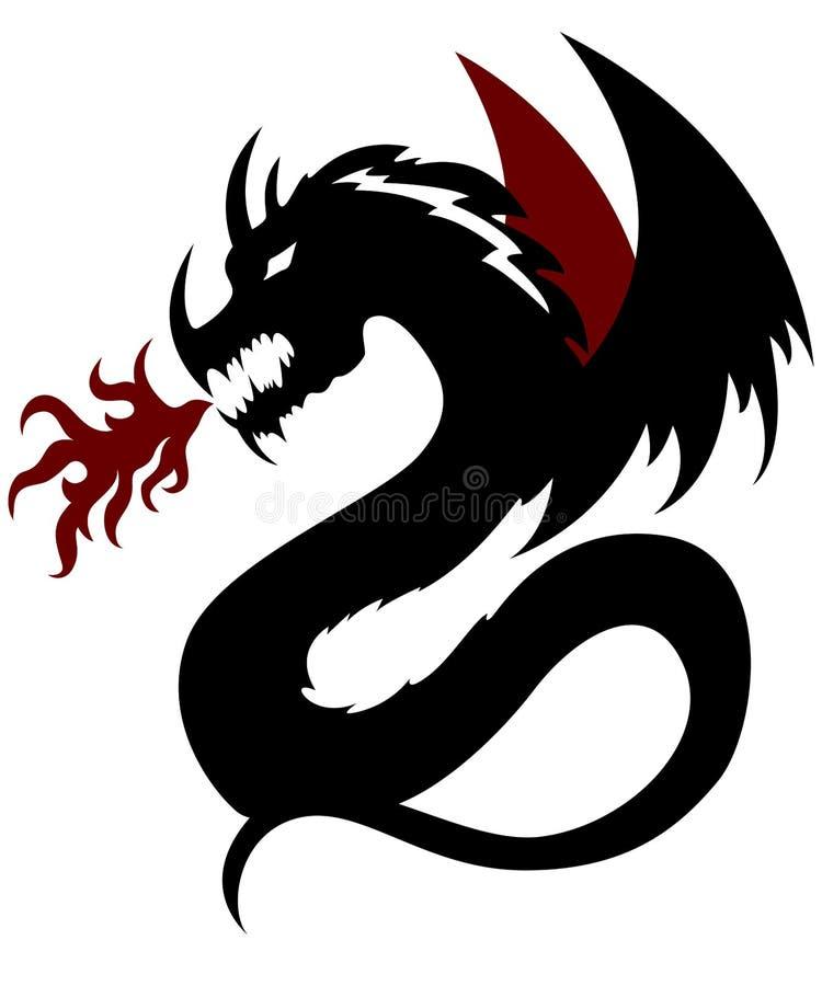 Schwarzer Drache mit dunkelroter Flammenillustration stockbilder