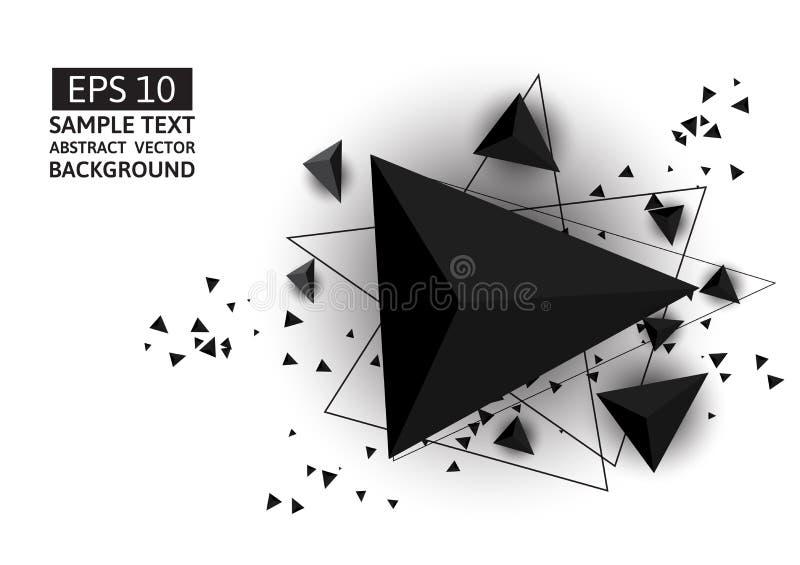 Schwarzer Dreieckzusammenfassungs-Vektorhintergrund mit Kopienraum stock abbildung