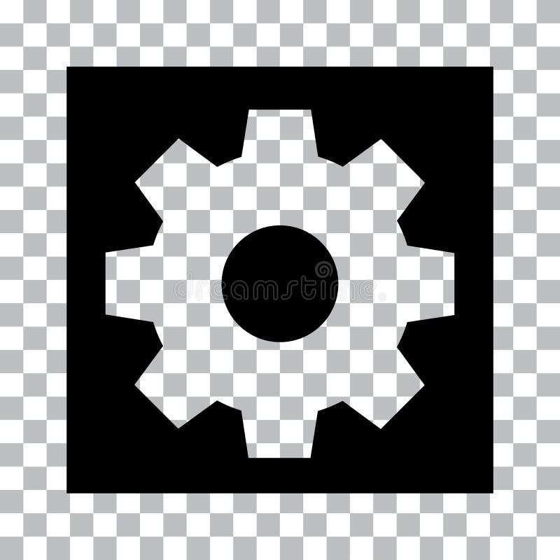 Schwarzer Einstellungsknopf auf transparentem Hintergrund Vektor vektor abbildung