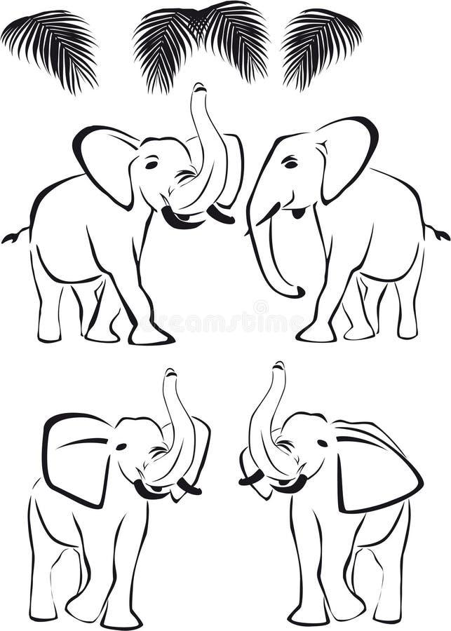 Schwarzer Elefant, Kabel auf und ab, wilde Tiere lizenzfreie abbildung